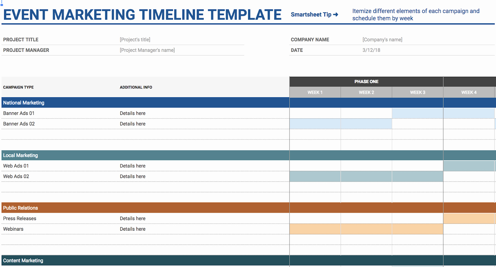 Marketing Timeline Template Excel Elegant 11 Of the Best Free Google Sheets Templates for 2019