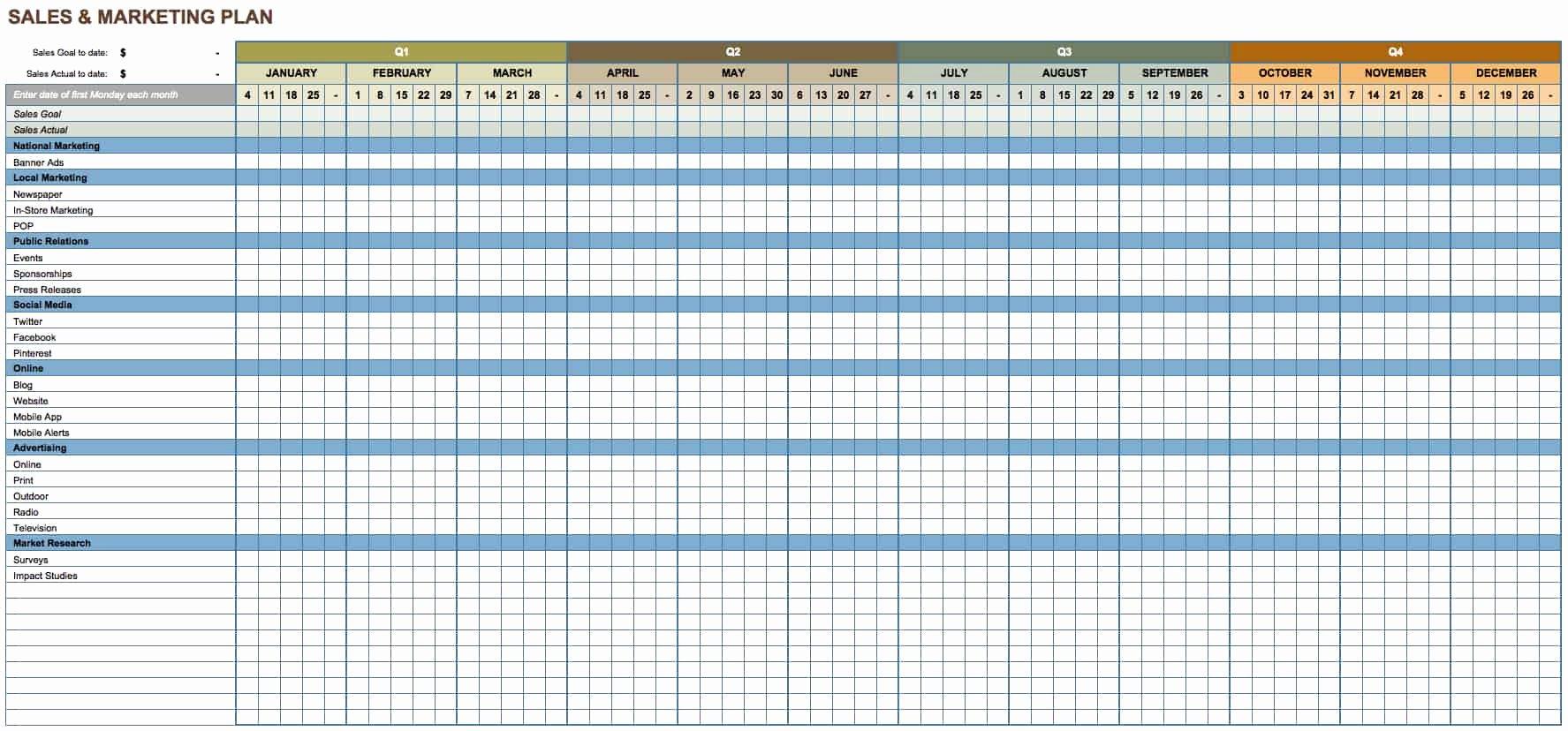 Marketing Timeline Template Excel New Free Marketing Plan Templates for Excel Smartsheet