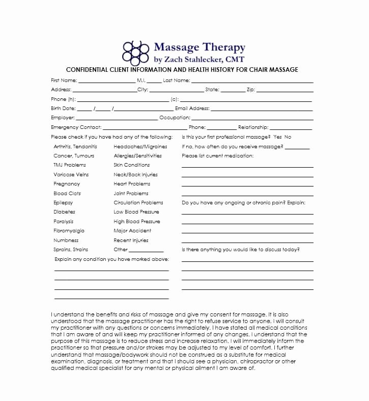 Massage therapy Intake form Template Beautiful 59 Best Massage Intake forms for Any Client Printable