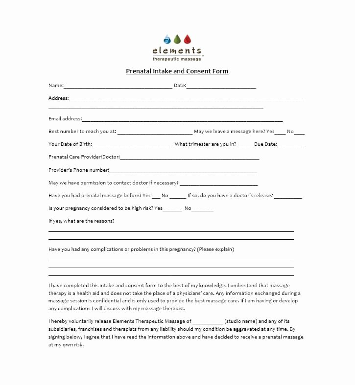 Massage therapy Intake form Template Fresh 59 Best Massage Intake forms for Any Client Printable