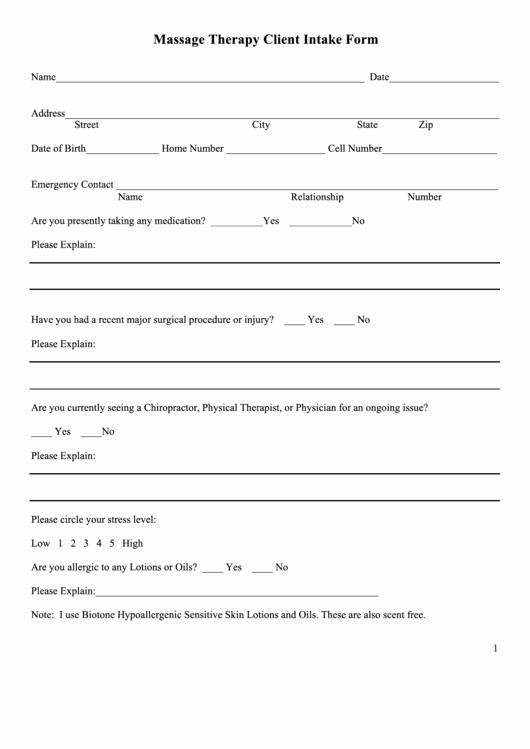 Massage therapy Intake form Template Fresh Massage therapy Client Intake form Printable Pdf