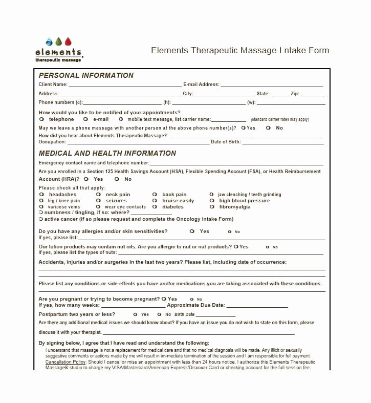 Massage therapy Intake form Template New 59 Best Massage Intake forms for Any Client Printable