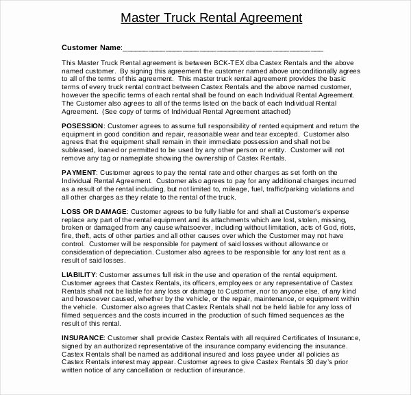 Master Lease Agreement Template Awesome 8 Truck Lease Agreement Templates Pdf Doc