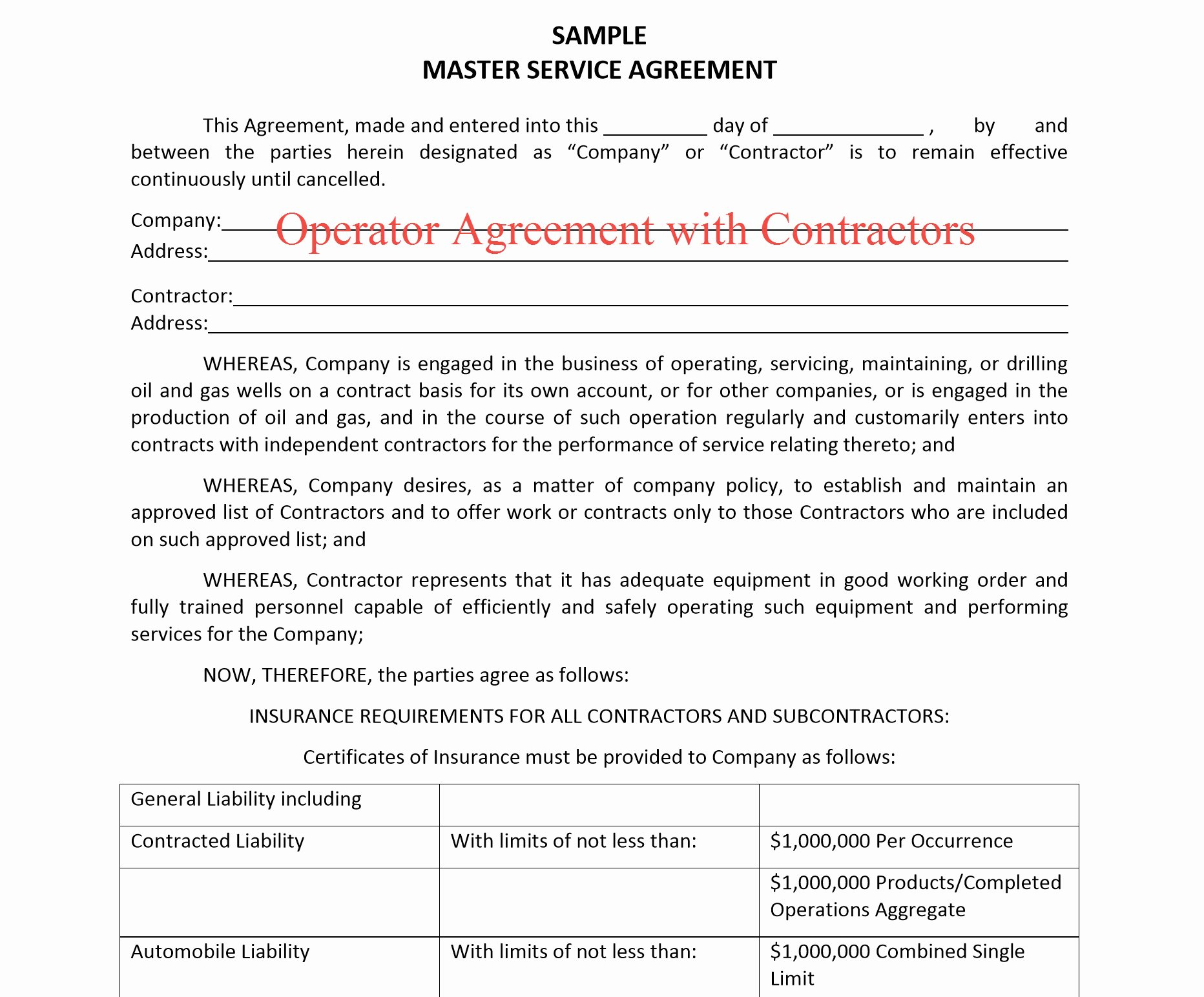 Master Lease Agreement Template Awesome New Oil & Gas Lease Operators Procuring General Liability