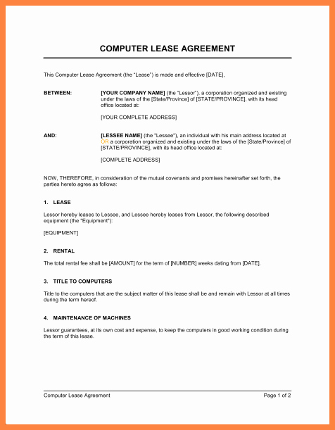 Master Lease Agreement Template Best Of 9 Equipment Rental Lease Agreement Template