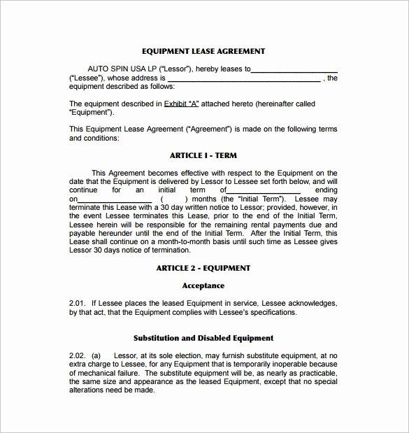 Master Lease Agreement Template Elegant Sample Equipment Lease Agreement Template 10 Free