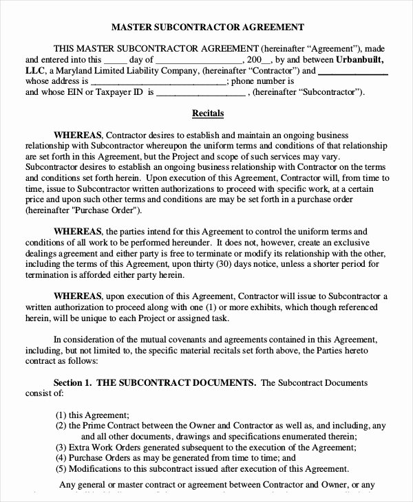 Master Lease Agreement Template Fresh 12 Simple Subcontractor Agreement Templates Word Pdf