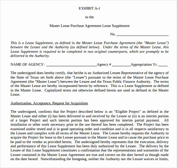 Master Lease Agreement Template Fresh 8 Lease Purchase Agreement Template to Download