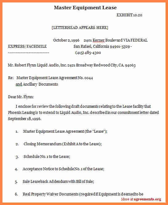Master Lease Agreement Template Inspirational 9 Equipment Rental Lease Agreement Template