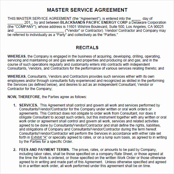Master Lease Agreement Template Inspirational Sample Master Service Agreement 8 Documents In Pdf Word