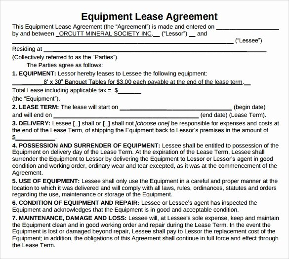 Master Lease Agreement Template Lovely Sample Equipment Lease Agreement 13 Free Documents In