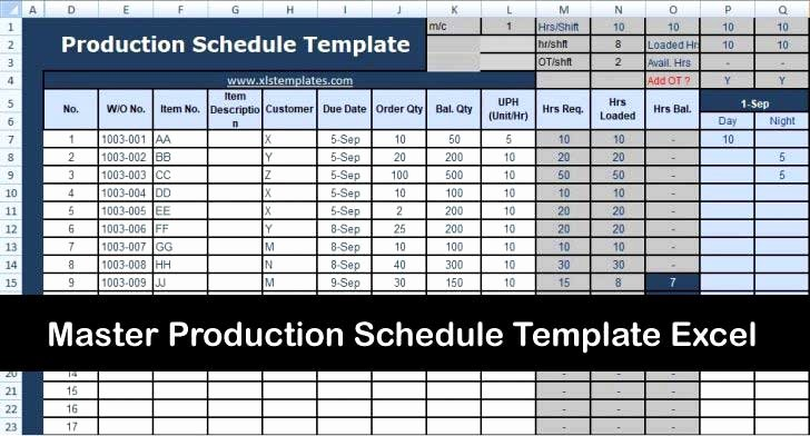 Master Production Schedule Template Excel Inspirational Master Production Schedule Template Excel Microsoft