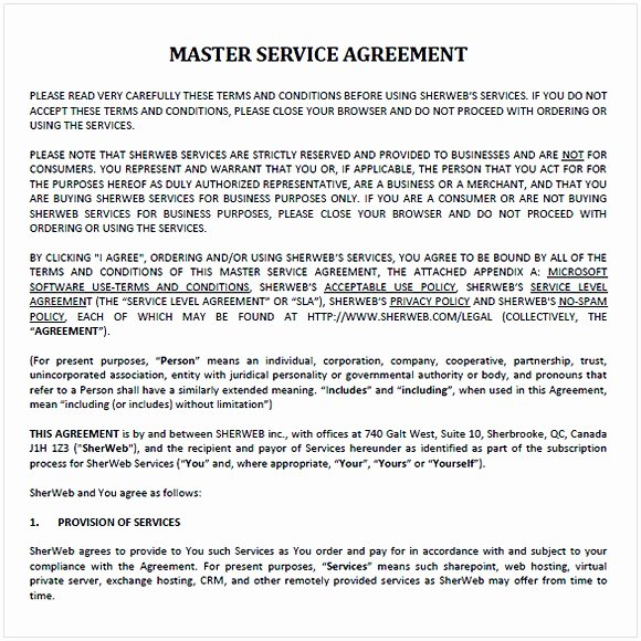 Master Services Agreement Template Beautiful Master Service Agreement Template