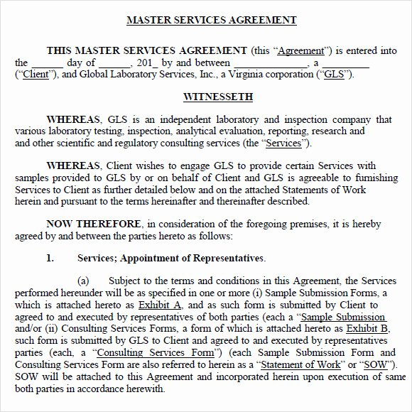 Master Services Agreement Template Beautiful Sample Master Service Agreement 8 Documents In Pdf Word