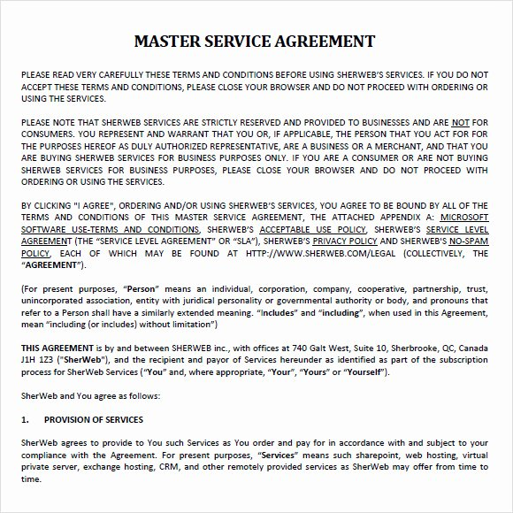 Master Services Agreement Template Elegant Sample Master Service Agreement 8 Documents In Pdf Word