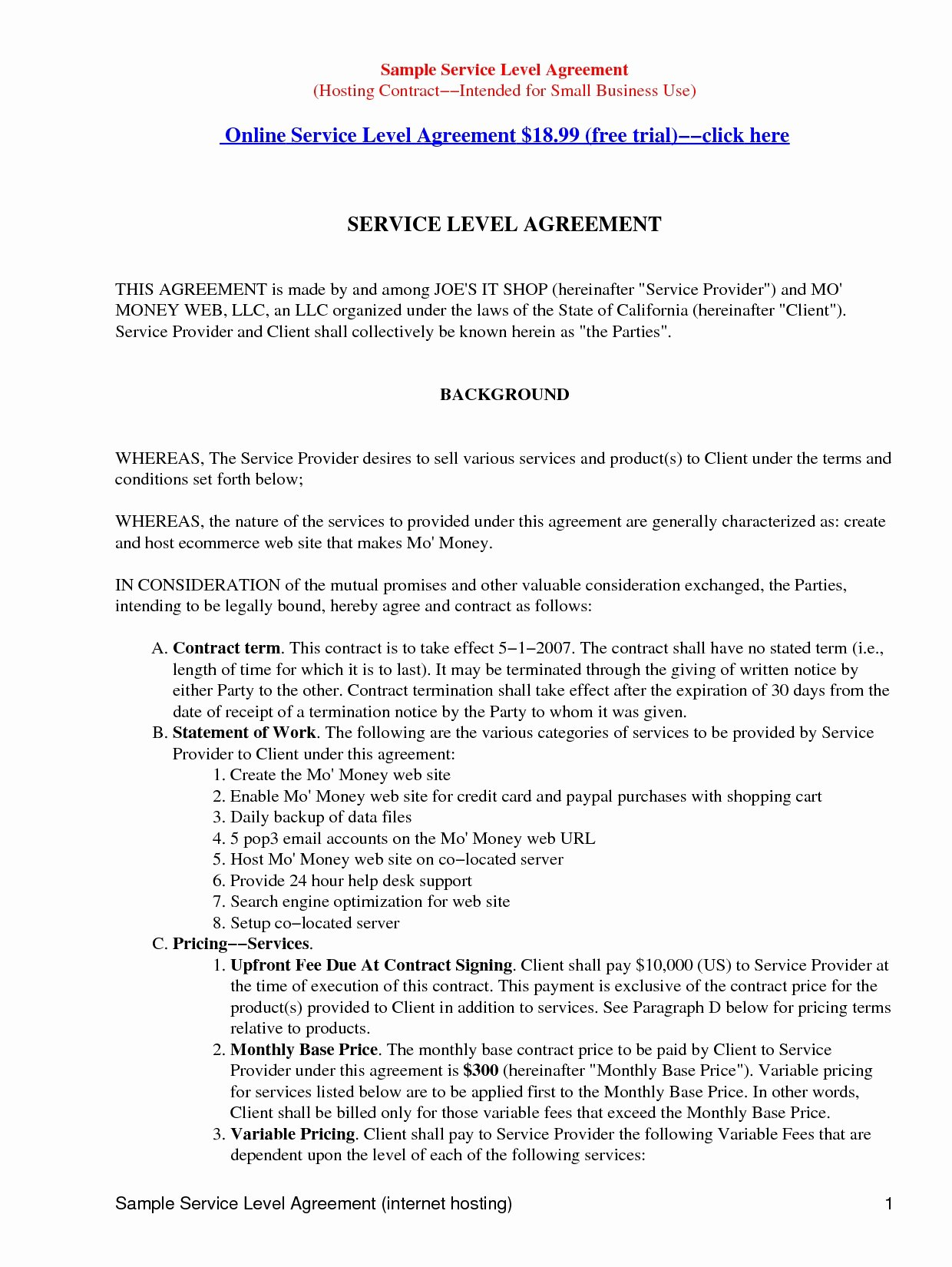 Master Services Agreement Template Inspirational 41 Advanced Master Service Level Agreement Oo W