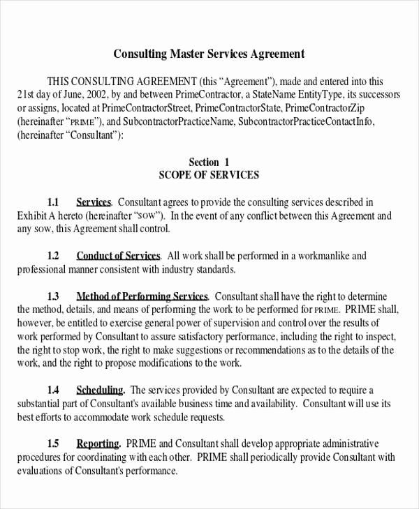 Master Services Agreement Template New 41 Consulting Agreement Examples Word Pdf
