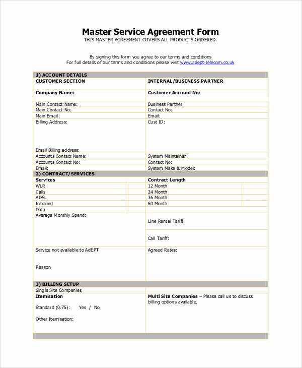 Master Services Agreement Template New Basic Agreement form
