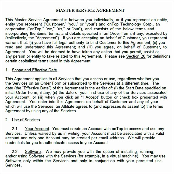 Master Services Agreement Template New Master Service Agreement Template