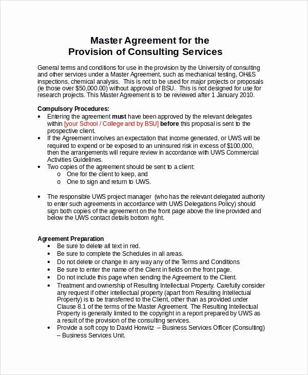 Master Services Agreement Template New Sample Consulting Agreement 13 Examples In Word Pdf