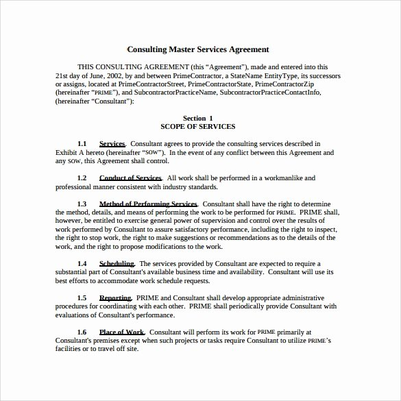 Master Services Agreement Template Unique 15 Sample Master Service Agreement Templates