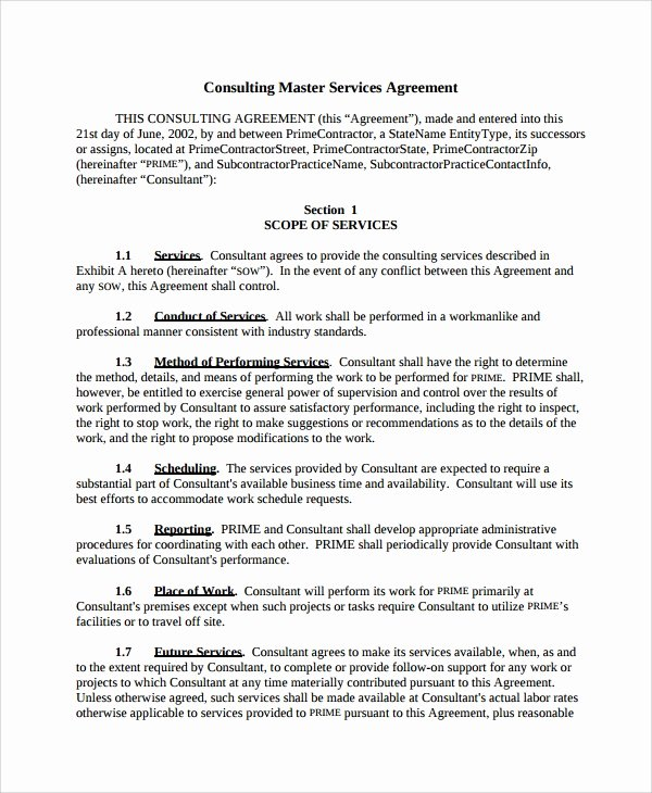 Master Services Agreement Template Unique Sample Consulting Service Agreement 9 Free Documents