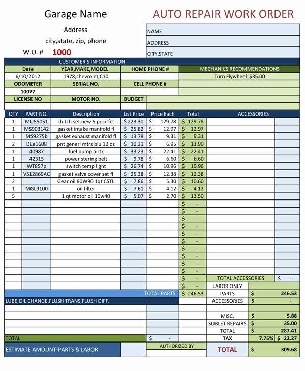 Mechanic Work order Template Word Best Of Auto Repair Work order Template
