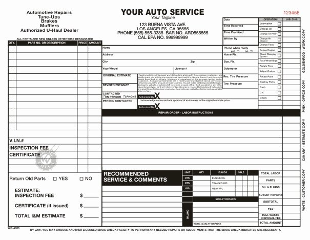 Mechanic Work order Template Word Best Of Automotive Work order Template
