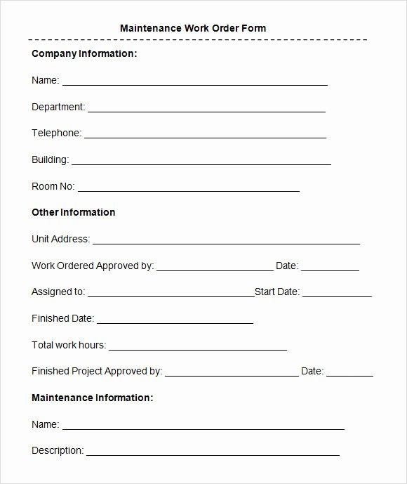 Mechanic Work order Template Word Fresh Free 8 Sample Maintenance Work order forms In Pdf