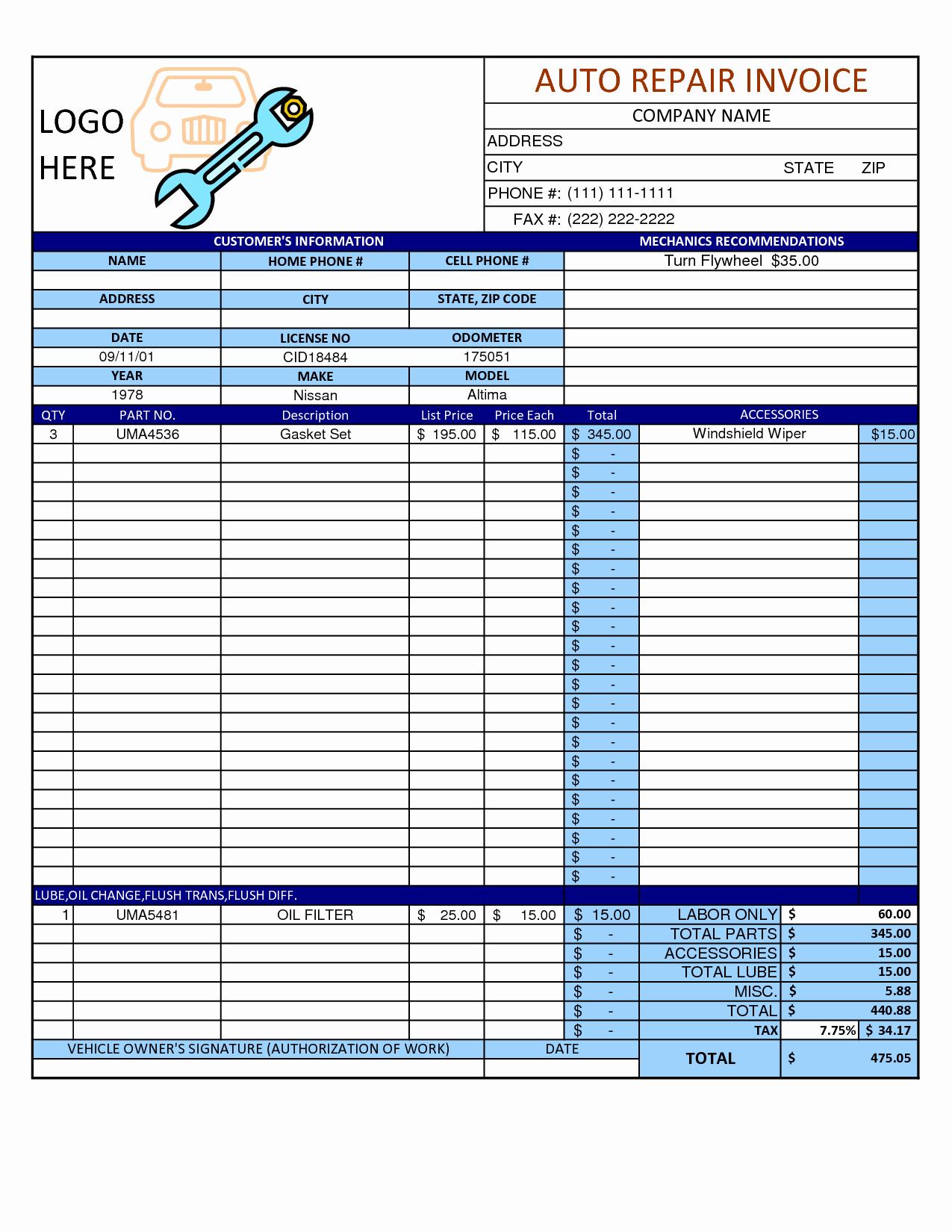 Mechanic Work order Template Word Fresh Mechanic Shop Invoice