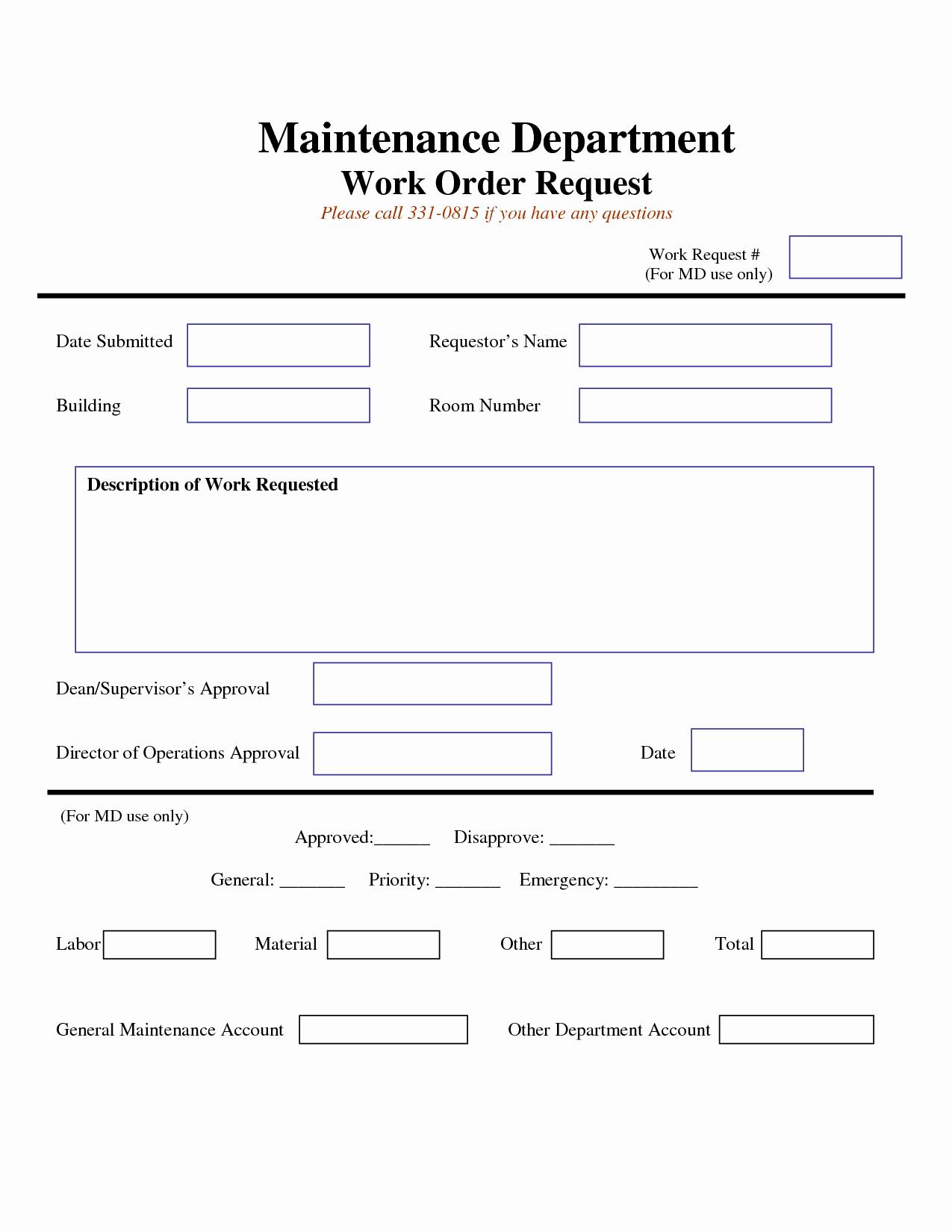 Mechanic Work order Template Word Fresh Work Request form