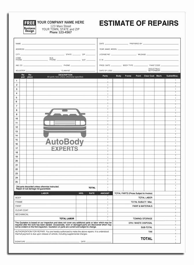 Mechanic Work order Template Word Luxury Auto Repair order Template