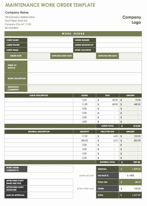 Mechanic Work order Template Word New Free Work order Template