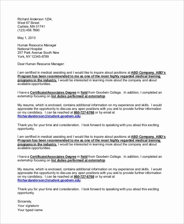 Medical assistant Cover Letter Templates Best Of Sample Medical assistant Cover Letter 8 Examples In