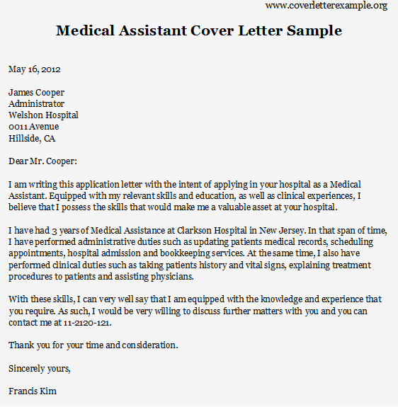 Medical assistant Cover Letter Templates Fresh Medical assistant Cover Letter Sample On Behance