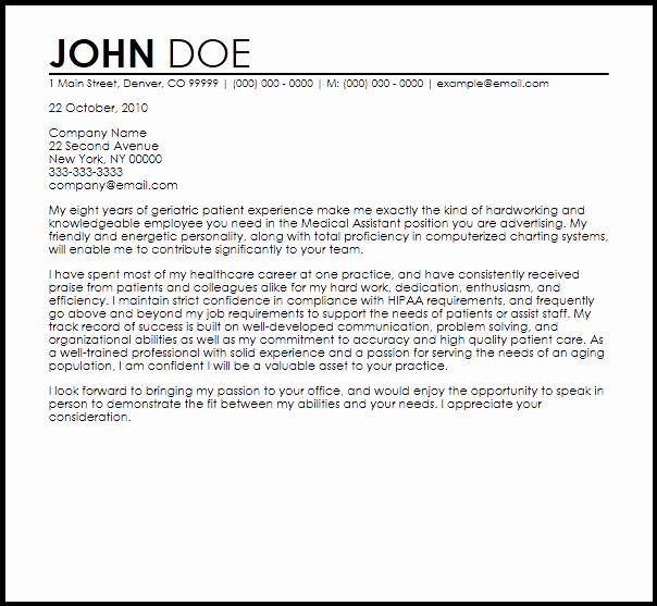 Medical assistant Cover Letter Templates Inspirational Free Medical assistant Cover Letter Templates