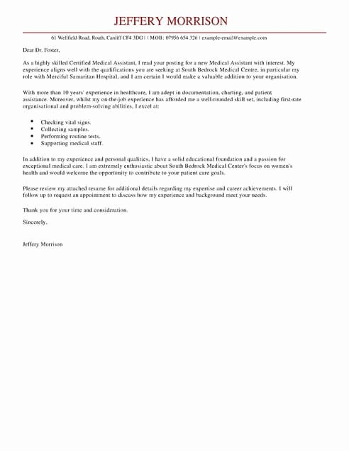 Medical assistant Cover Letter Templates Inspirational Medical assistant Cover Letter Template