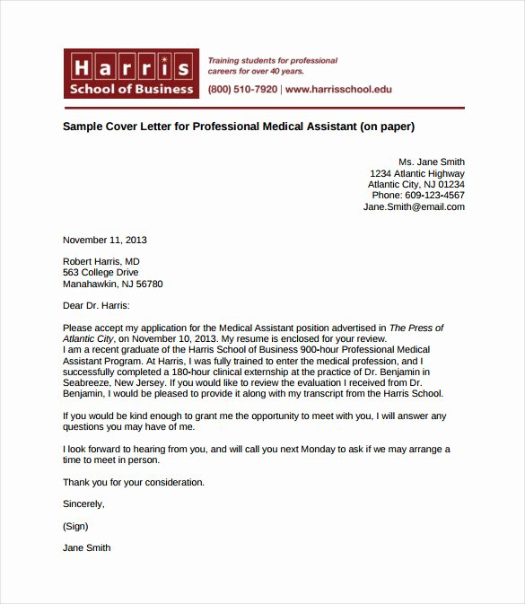Medical assistant Cover Letter Templates Inspirational Medical Cover Letter Template 4 Free Word Pdf