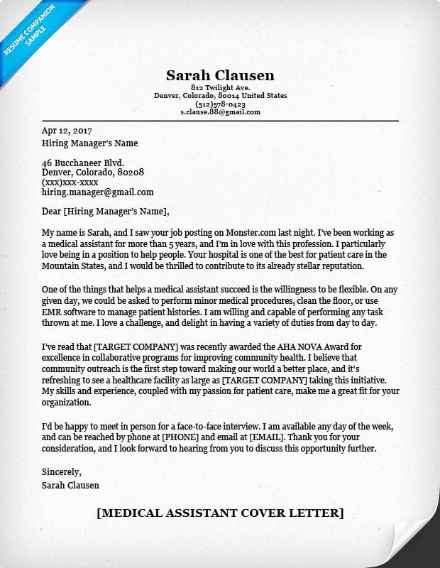Medical assistant Cover Letter Templates Lovely Medical assistant Cover Letter Sample