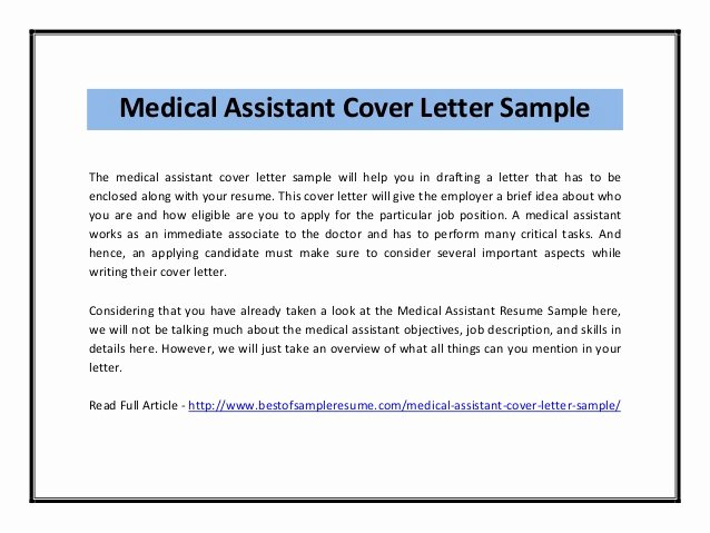 Medical assistant Cover Letter Templates Luxury Medical assistant Cover Letter Sample Pdf