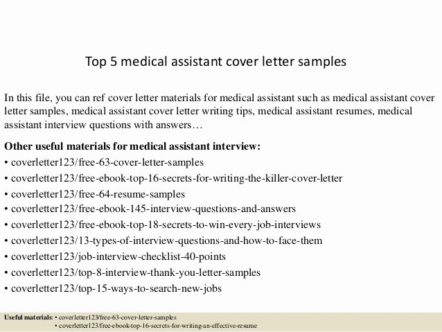 Medical assistant Cover Letter Templates Luxury top 5 Medical assistant Cover Letter Samples