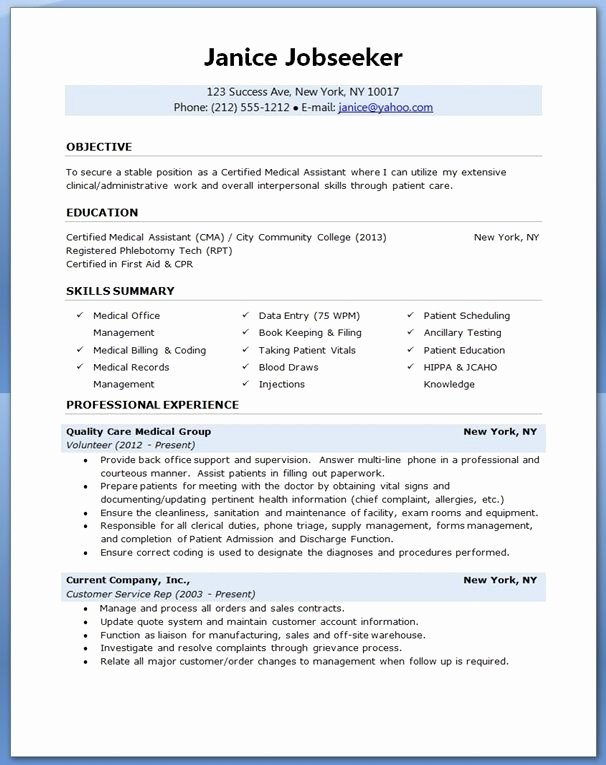 Medical assistant Resume Templates Awesome Medical assistant Resume Sample