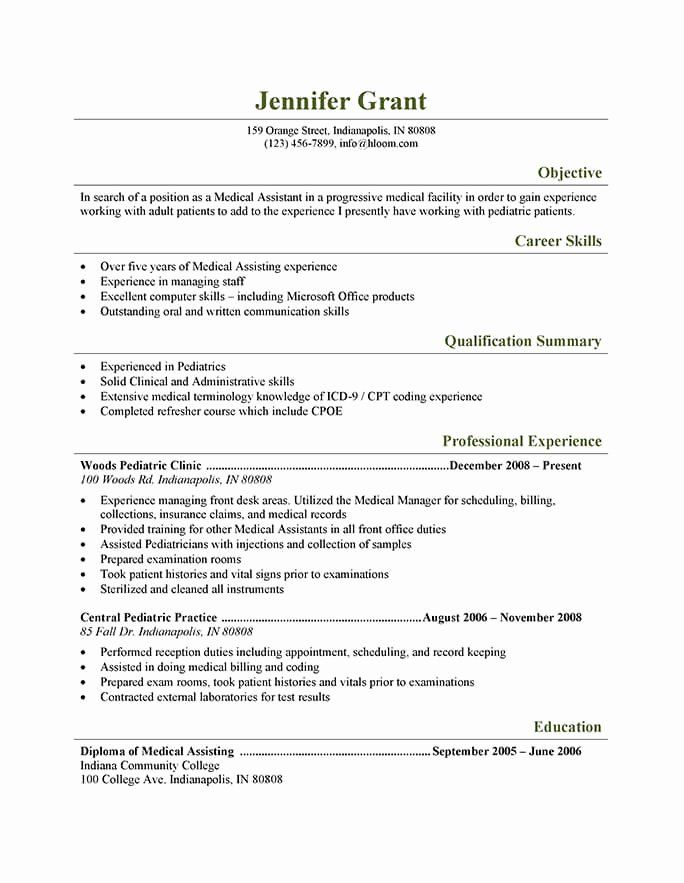 Medical assistant Resume Templates Best Of 16 Free Medical assistant Resume Templates
