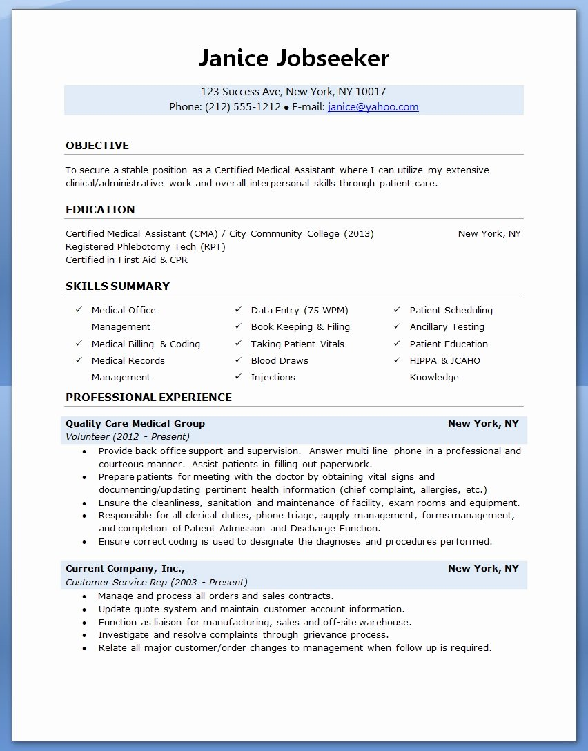 Medical assistant Resume Templates Best Of Sample Of A Medical assistant Resume 2016