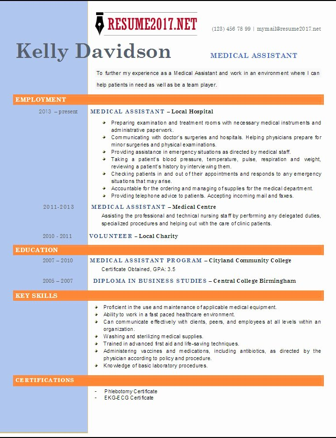 Medical assistant Resume Templates Best Of top 6 Medical assistant Resume Templates 2017