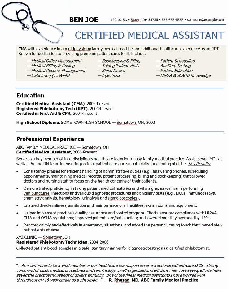 Medical assistant Resume Templates Elegant Medical assistant Sample Resume
