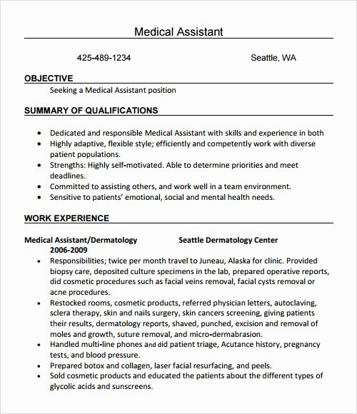 Medical assistant Resume Templates Lovely Free 20 Sample Resume Templates In Free Samples Examples