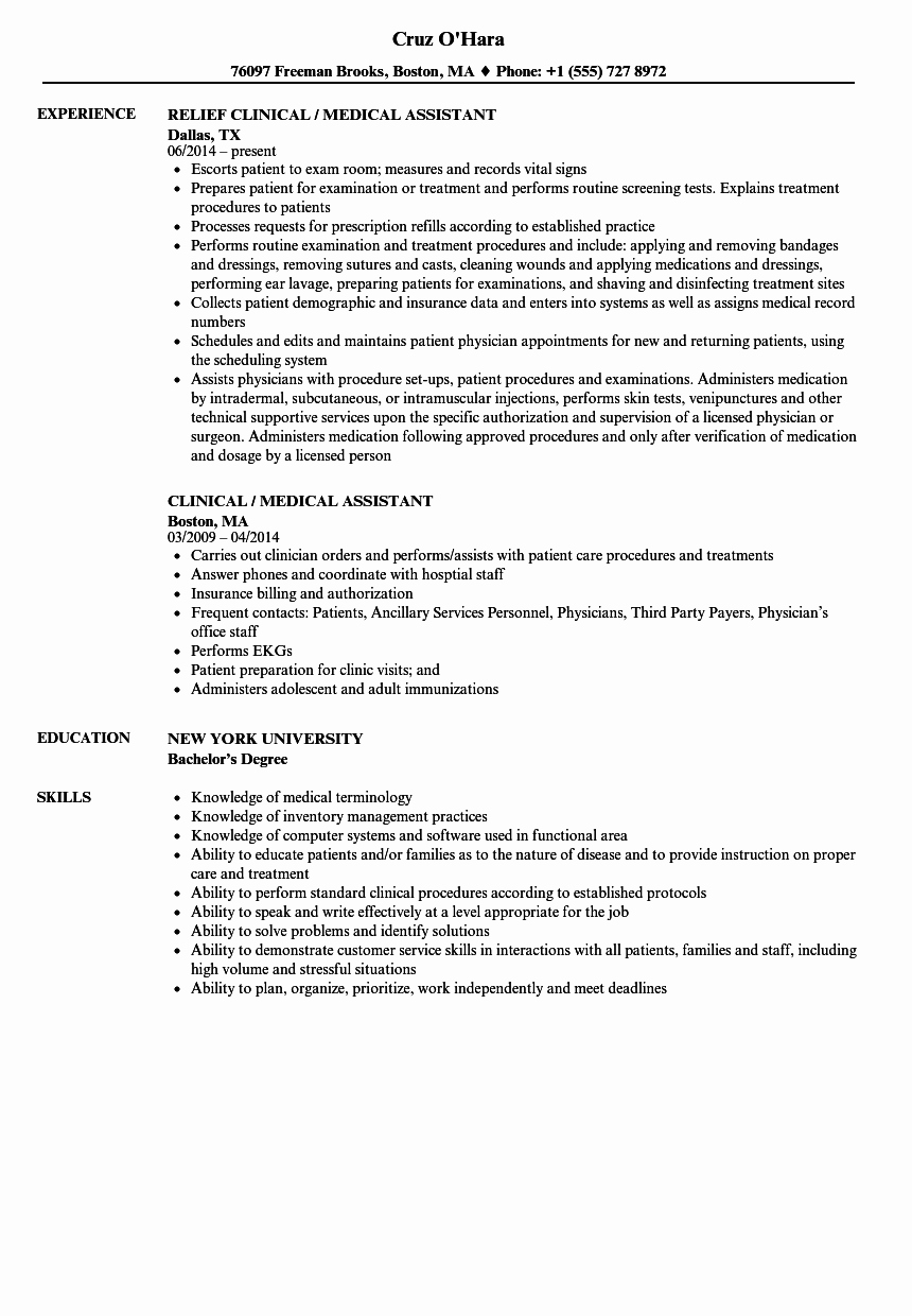 Medical assistant Resume Templates Luxury Clinical Medical assistant Resume Samples