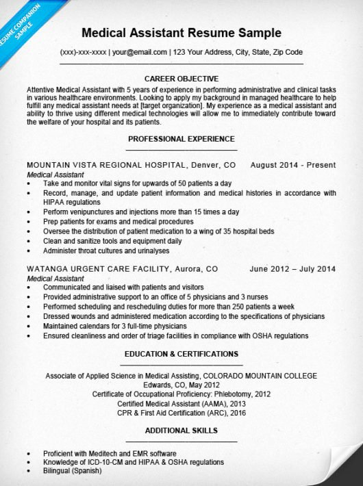 Medical assistant Resume Templates Luxury Medical assistant Resume Sample