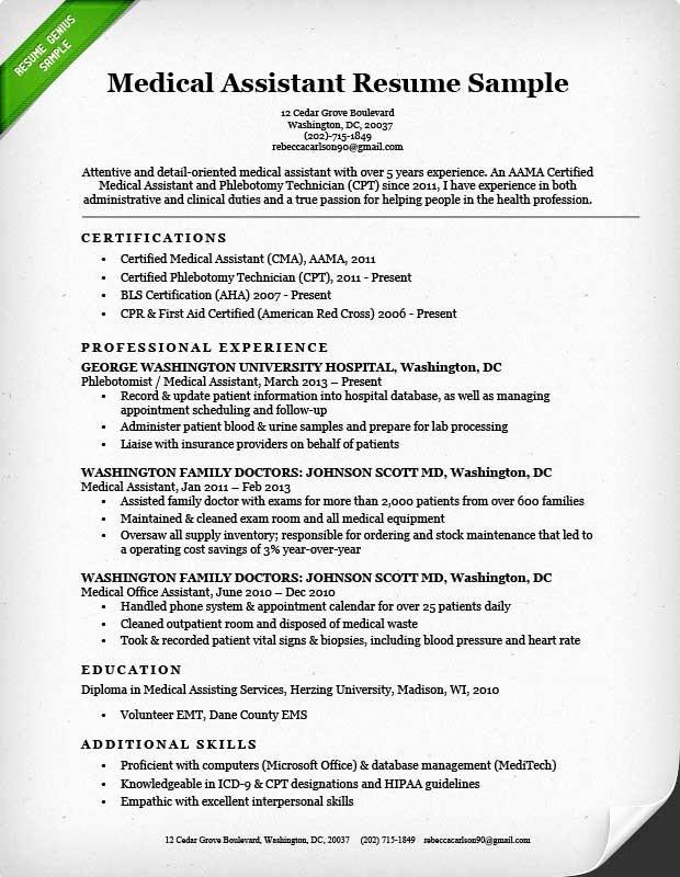 Medical assistant Resume Templates Unique Medical assistant Resume Sample & Writing Guide
